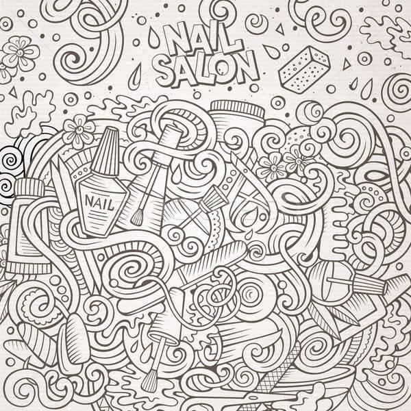 Cartoon doodles Nail salon frame design Stock photo © balabolka