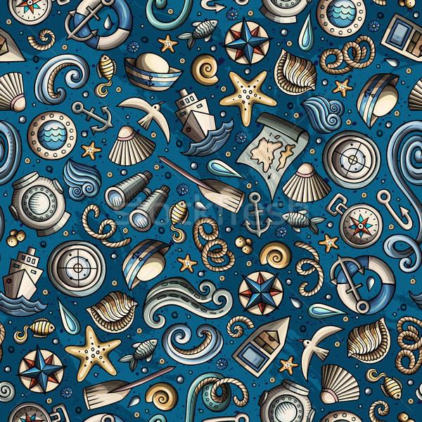 Cartoon náutico marinos colorido detallado Foto stock © balabolka