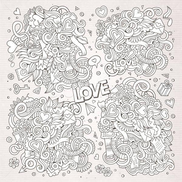 Stock photo: Sketchy vector doodles cartoon set of Love designs