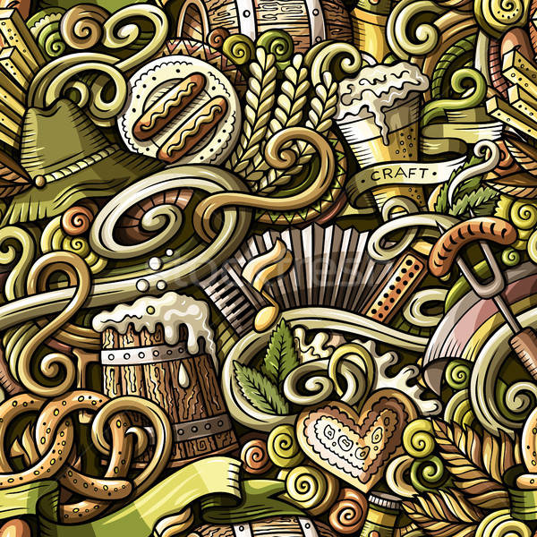 Cartoon cute doodles Octoberfest seamless pattern Stock photo © balabolka