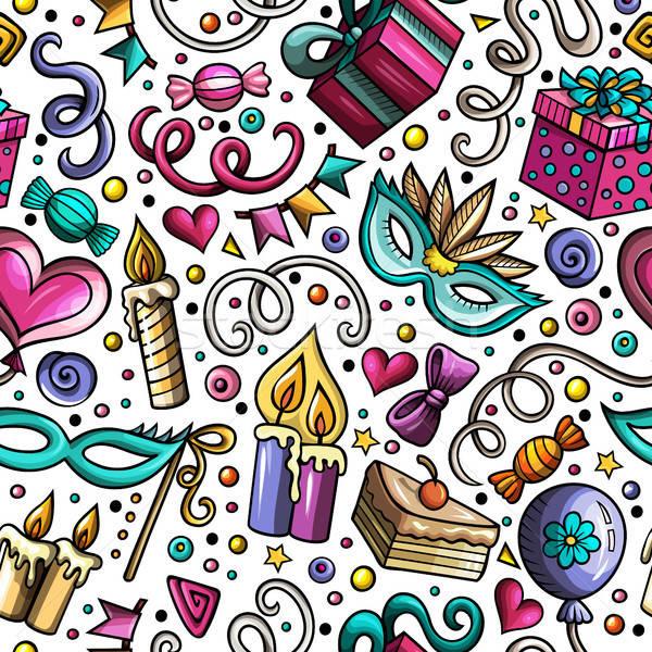 Foto stock: Desenho · animado · aniversário · férias · colorido
