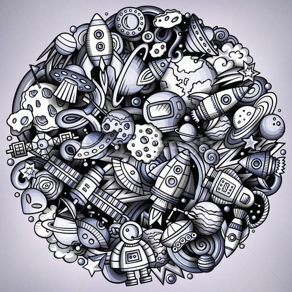 Cartoon vettore scarabocchi spazio illustrazione in bianco e nero Foto d'archivio © balabolka