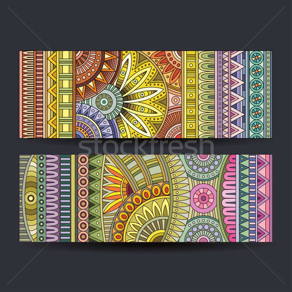Abstract vector ethnic pattern cards set Stock photo © balabolka