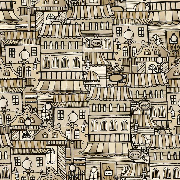 Foto stock: Vintage · casas · Cartoon · vector · cuento · de · hadas