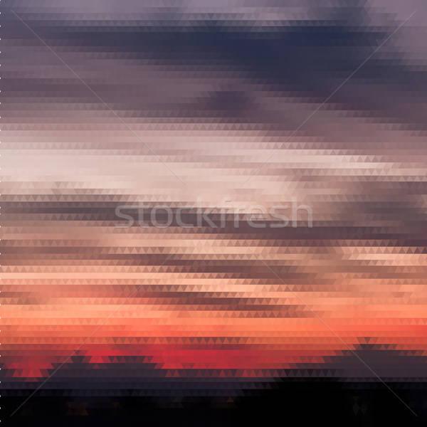 Retro puesta de sol patrón geométrico formas colorido Foto stock © balabolka
