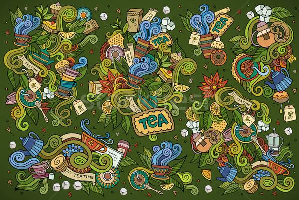 Tea idő firkák kézzel rajzolt vázlatos vektor Stock fotó © balabolka