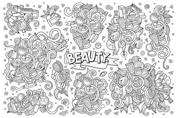 Vector hand drawn doodle cartoon set of objects  Stock photo © balabolka