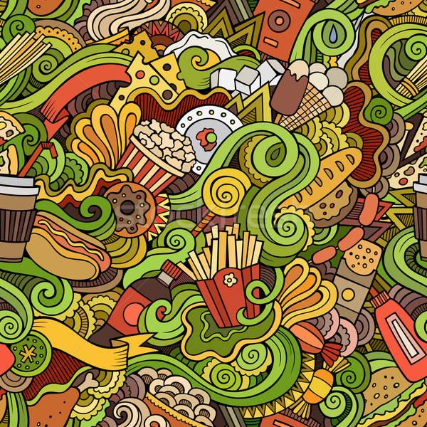 Naadloos abstract fast food patroon cartoon Stockfoto © balabolka