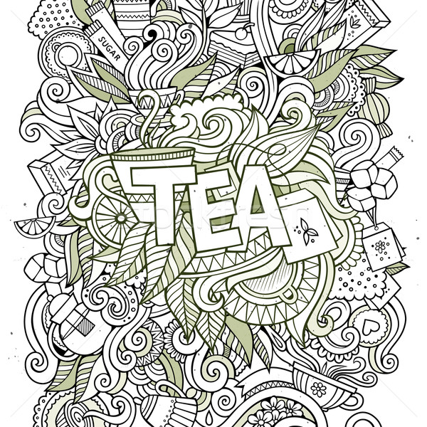 Tea hand lettering and doodles elements background.  Stock photo © balabolka