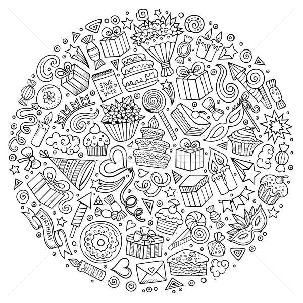 Stock photo: CoSet of Holidays cartoon doodle objects