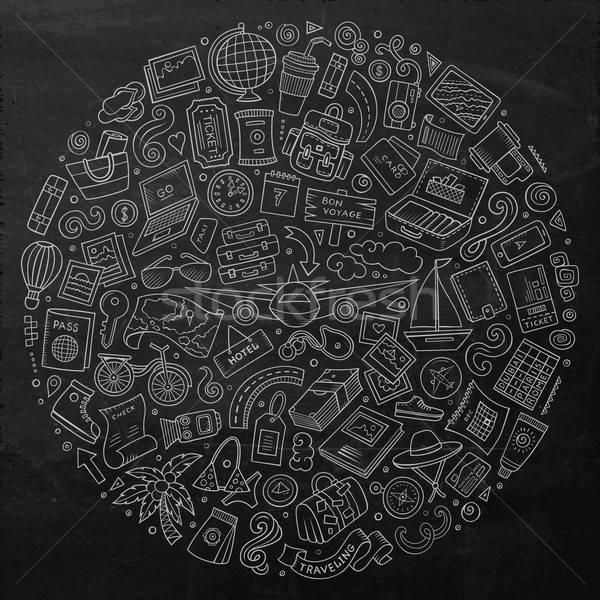 Stock photo: Line art chalkboard vector hand drawn set of Travel cartoon dood