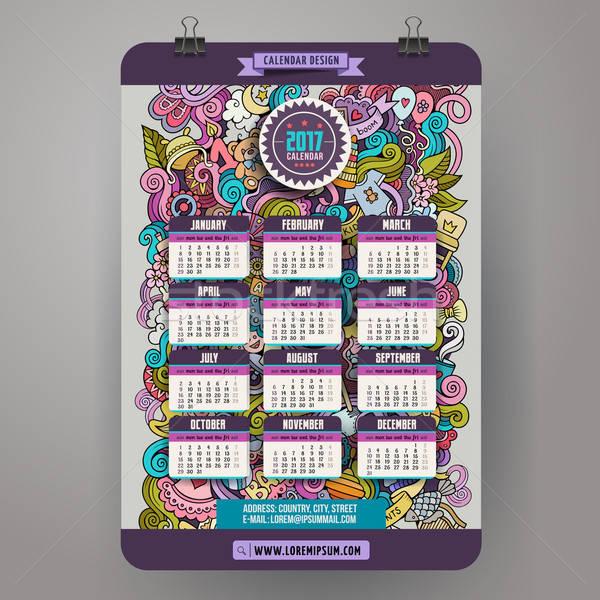 Cartoon doodles Baby boom 2017 year calendar template Stock photo © balabolka