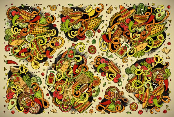 Doodle cartoon ingesteld mexicaans eten objecten kleurrijk Stockfoto © balabolka
