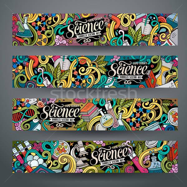Cartoon vector doodles science banners Stock photo © balabolka