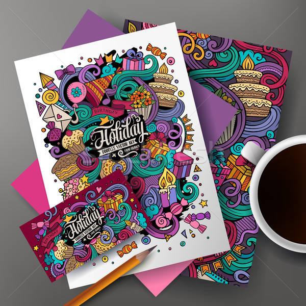 Cartoon cute vector hand drawn doodles Holidays corporate identity set Stock photo © balabolka