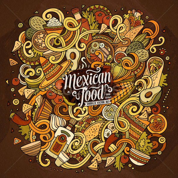 Cartoon cute mexicaans eten illustratie Stockfoto © balabolka