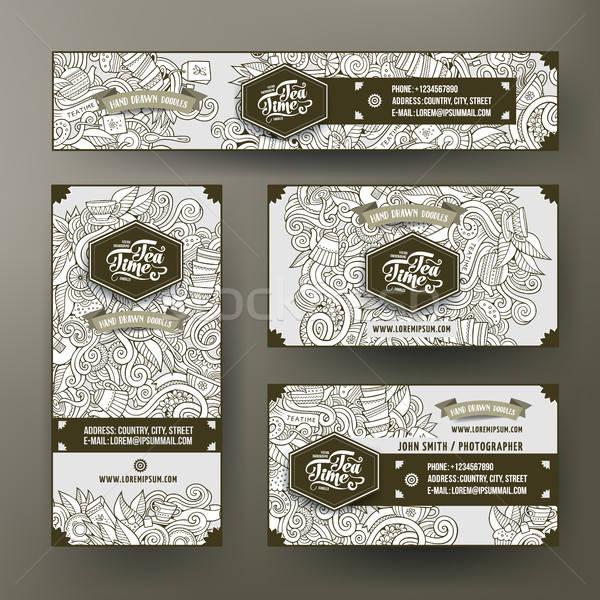 Corporate Identität Vorlagen Set Kritzeleien Tee Stock foto © balabolka