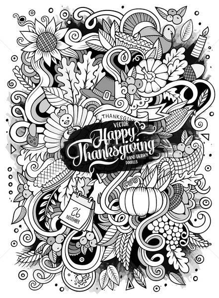 Rajz aranyos firkák kézzel rajzolt hálaadás illusztráció Stock fotó © balabolka