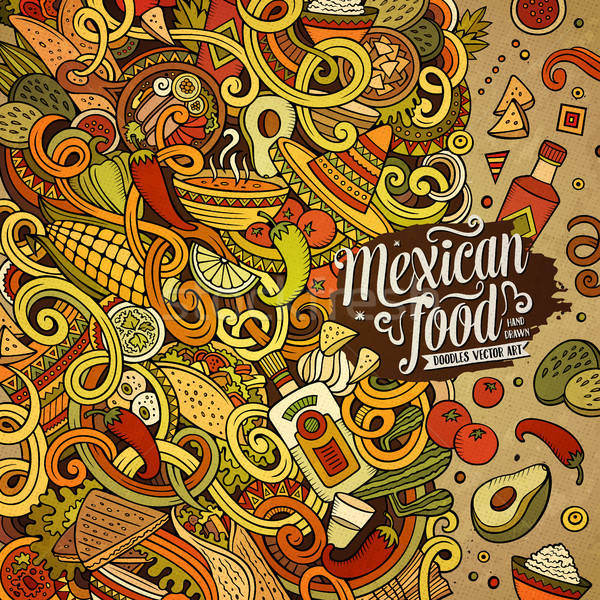 Cartoon mexicaans eten frame ontwerp cute Stockfoto © balabolka