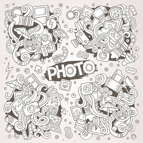 Photo hand drawn sketchy vector doodle designs Stock photo © balabolka