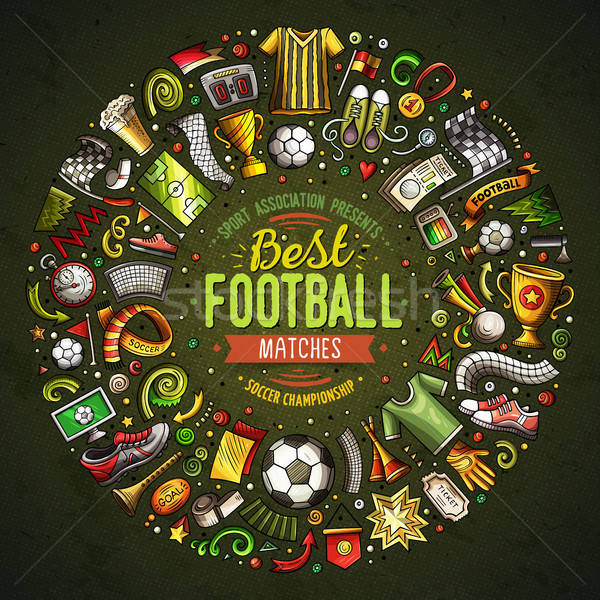 Conjunto vetor desenho animado rabisco futebol objetos Foto stock © balabolka