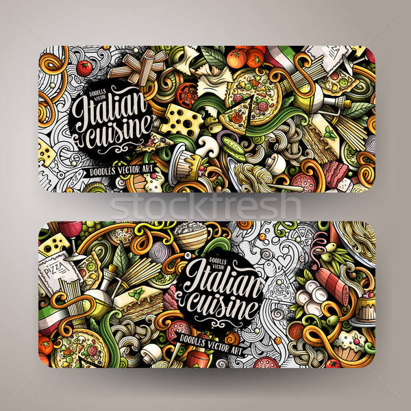 Cartoon garabatos comida italiana banners cute vector Foto stock © balabolka
