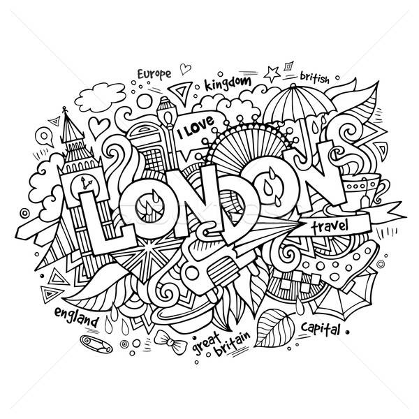 London hand lettering and doodles elements background. Stock photo © balabolka