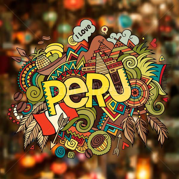Peru mão elementos café paisagem Foto stock © balabolka