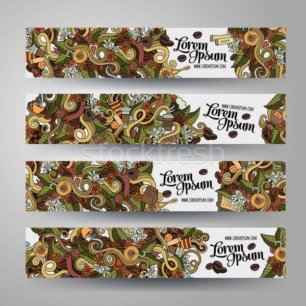 Stock photo: Vector banner templates doodles coffee theme