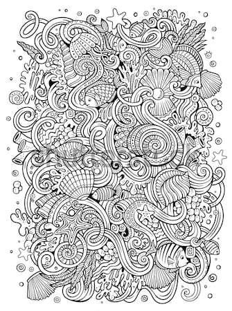 Cartoon hippie illustratie lijn kunst Stockfoto © balabolka