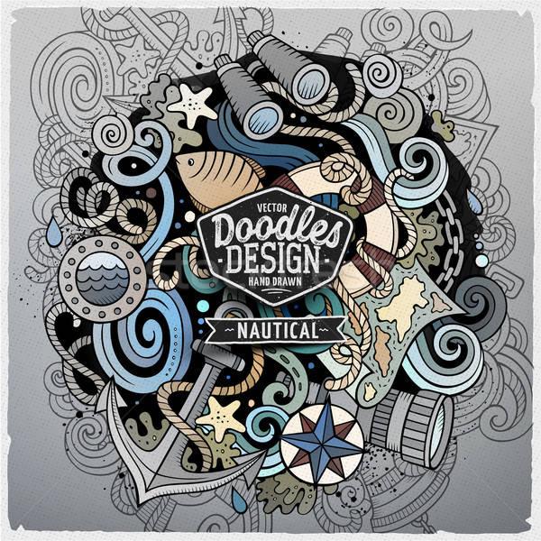 Cartoon vector náutico garabato ilustración dibujado a mano Foto stock © balabolka
