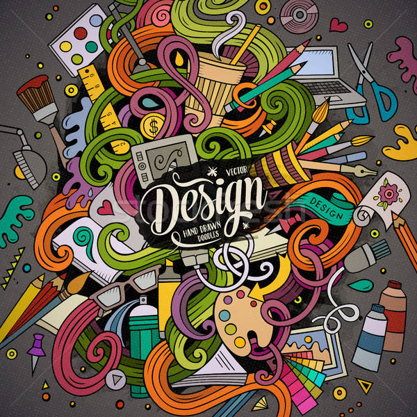 Cartoon cute doodles design illustration Stock photo © balabolka
