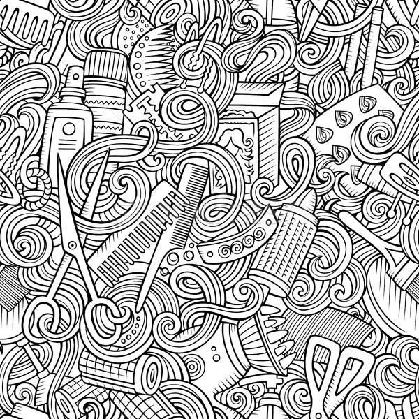 Cartoon cute doodles hairdressing salon seamless pattern Stock photo © balabolka
