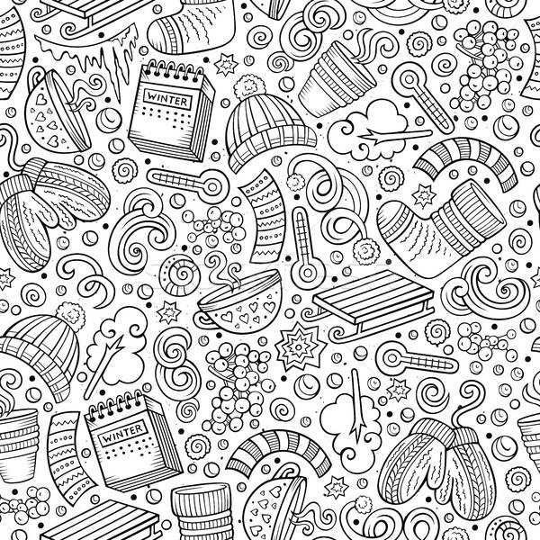 Cartoon Cute рисованной зимний сезон линия Сток-фото © balabolka