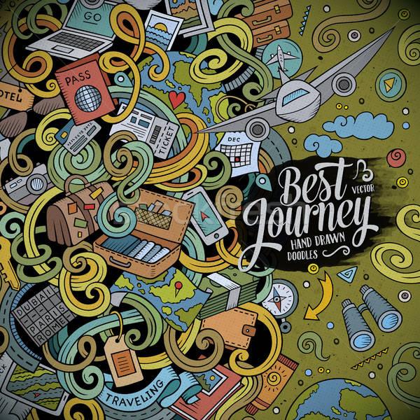 ストックフォト: 漫画 · かわいい · 旅行 · フレーム · デザイン