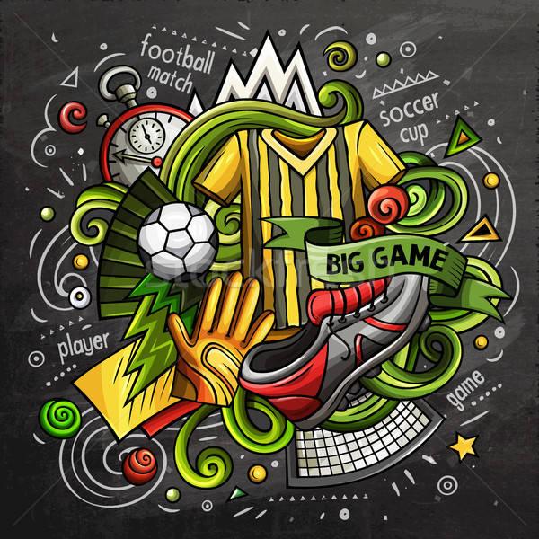 Soccer cartoon vector doodle illustration. Chalkboard design Stock photo © balabolka
