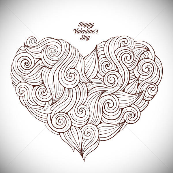Hand drawn curled vector heart Stock photo © balabolka