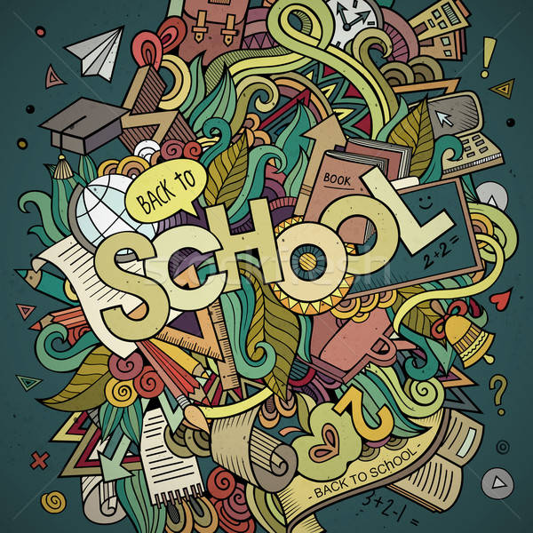 School cartoon hand lettering and doodles elements background. Stock photo © balabolka
