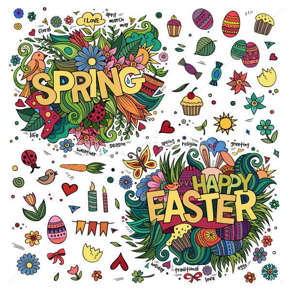 商业照片: 复活节 · 春天 ·手· 涂鸦 · 分子 ·花
