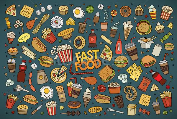 Fast food bazgroły wektora symbolika kolorowy Zdjęcia stock © balabolka