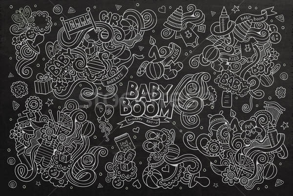 Kara tahta vektör karalama karikatür ayarlamak Stok fotoğraf © balabolka