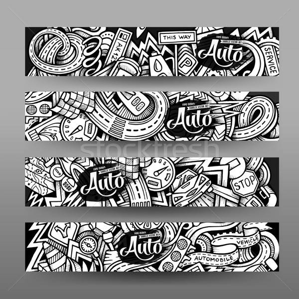 Graphics vector hand-drawn sketchy trace Automotive Doodle banners Stock photo © balabolka