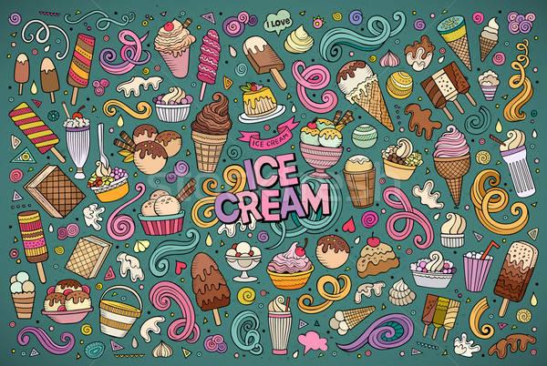 Stock photo: Colorful vector hand drawn doodle cartoon set of ice-cream objec
