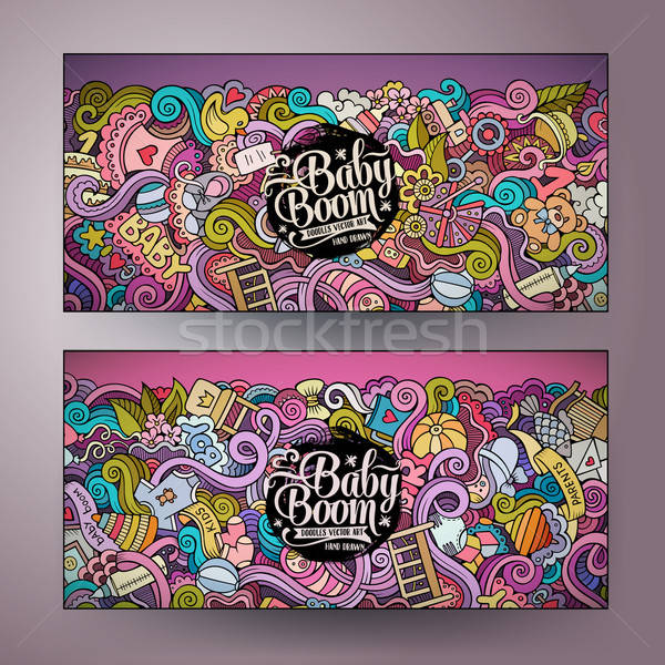 Cartoon vector doodles baby boom banners Stock photo © balabolka