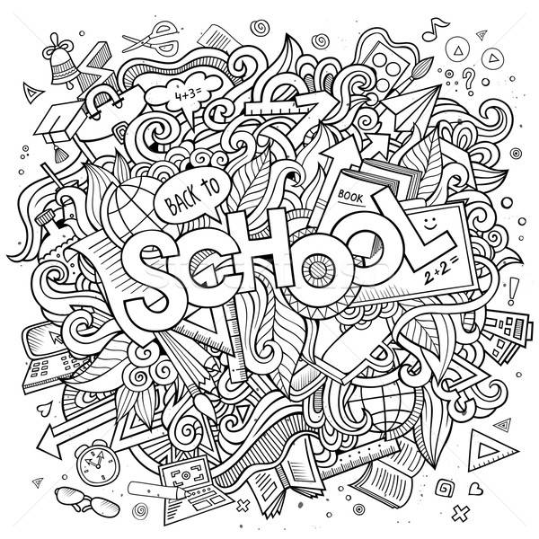 Cartoon cute doodles school illustration Stock photo © balabolka