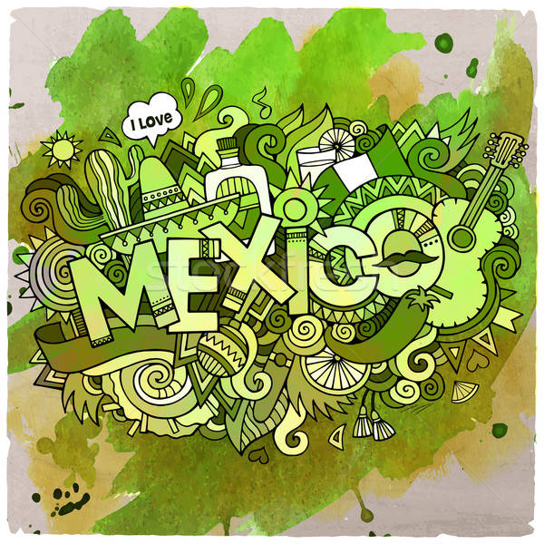 Mexico country hand lettering and doodles elements Stock photo © balabolka