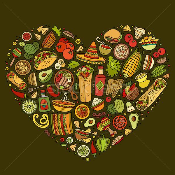 Establecer comida mexicana Cartoon garabato objetos colorido Foto stock © balabolka