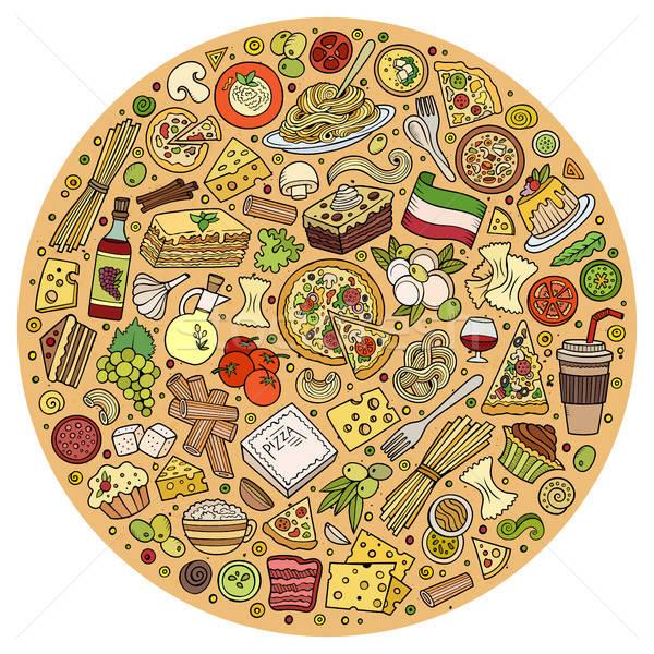 Stock photo: Set of Italian food cartoon doodle objects, symbols and items