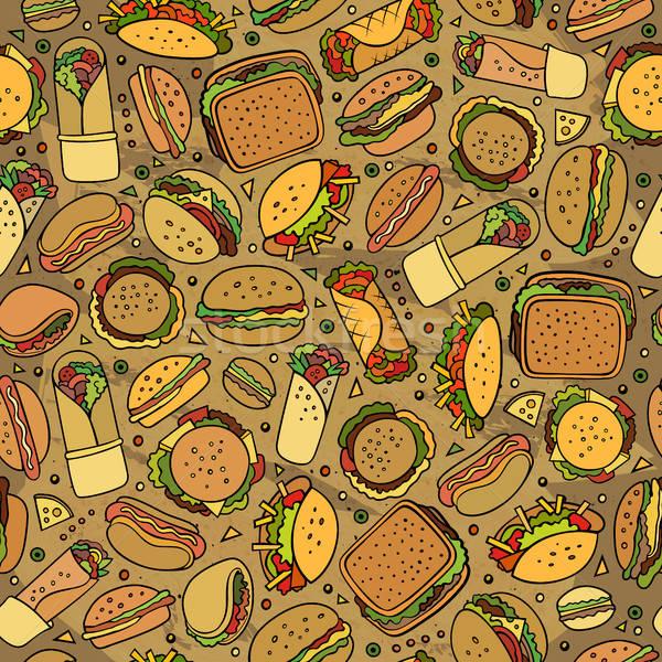 Desenho animado bonitinho fast-food colorido Foto stock © balabolka