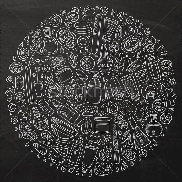 Stockfoto: Vector · ingesteld · manicure · cartoon · doodle · objecten